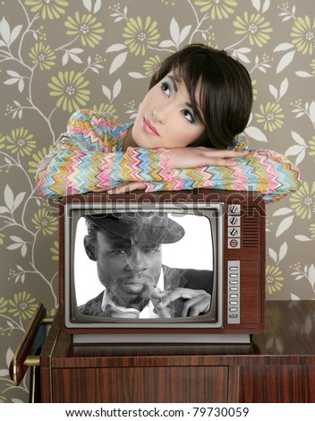 retro woman in love with tv african hero [Photo Illustration]