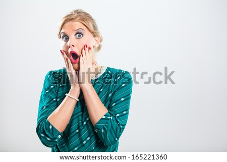 Retro woman is very shocked because of something,Shocked woman