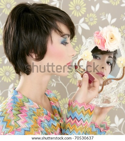 retro woman mirror lipstick makeup tacky fashion vintage wallpaper