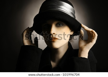 Retro woman vintage hat clothes. Elegant fashion portrait