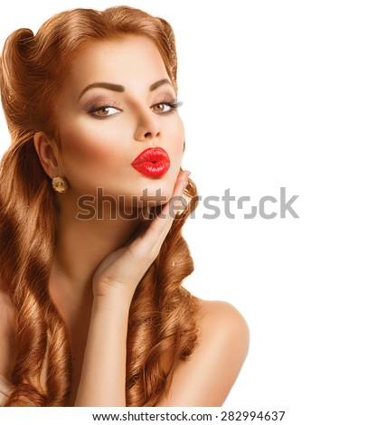 retro woman with red hair....