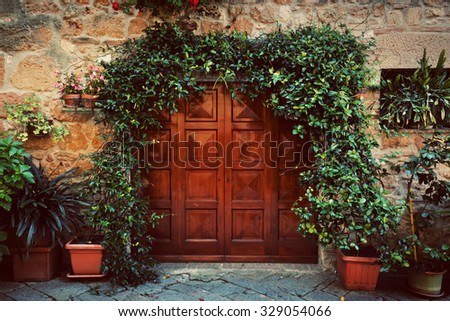 retro wooden door outside old...