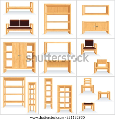 Retro Wooden Furniture Collection. Natural Eco Set for Room and House. Style Illustration. Vector Ready for Your Design.
