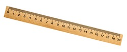 Retro wooden ruler isolated on a white background. Measuring ruler.
