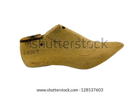 retro wooden shoes produce make mold mould form shape used by cobblers isolated on white