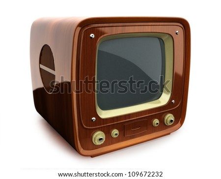 Retro wooden TV, side view on a white background