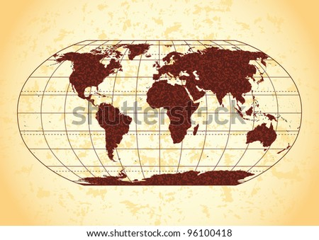 Retro world map with grunge paper background.