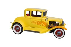 retro, yellow hot-rod with wide whitewalled tires