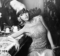 Retro young woman in Classic Interior