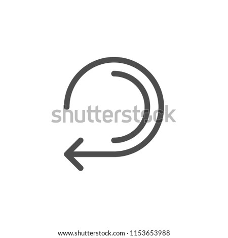 Retry arrow line icon isolated on white