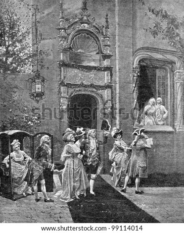 Return of the guests. Engraving by Geshl from picture by  Alonzo Peretz. Published in magazine 'Niva', publishing house A.F. Marx, St. Petersburg, Russia, 1899 Stock fotó ©