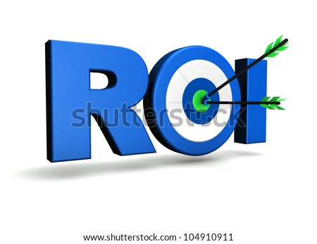 Return on investment business concept with roi word, target and two arrows on green centre. On white background.