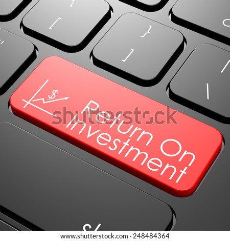 Return on investment keyboard image with hi-res rendered artwork that could be used for any graphic design.