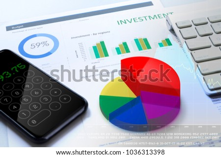 Return on investment risk analysis with vivid multicolor 3D pie graph and smart phone calculator screen
