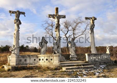 RETZ, AUSTRIA - DECEMBER 7, 2013: The end way of the Cross (three crosses). December 7, 2013 in Austria