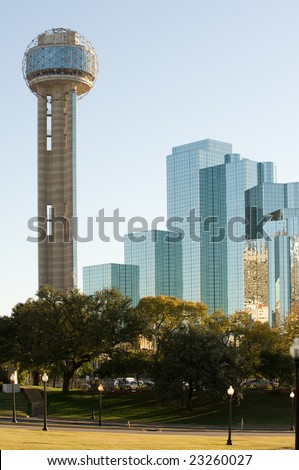 Reunion tower and modern hotel in downtown Dallas, TX