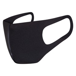 Reusable coil filtered face mask, safety breathing, dust protection, ear-loop mask to cover the mouth and nose. Trendy hospital, pollution protect face masking isolated on white, in black color