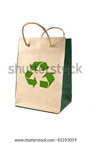 reusable paper bag isolated on white background, conservation concept