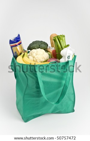 Reusable shopping bag filled with groceries