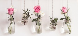 Reuse glass jars for home decor. Beautiful flowers hang on background of white wall. Feng shui elements, banner format.