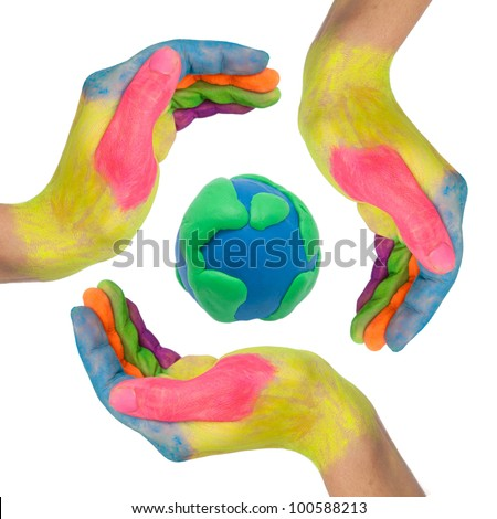 Reuse, reduce, recycle. Conceptual symbol of colorful hands making a circle around earth globe made from clay as logo. Isolated on white background with clipping path