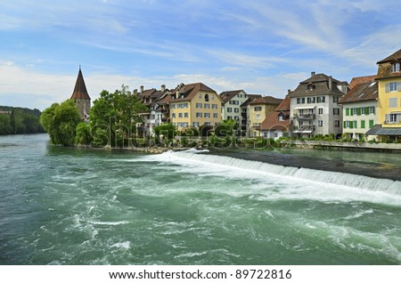 Reuss river at the historic town of Bremgarten, Switzerland at Summer.