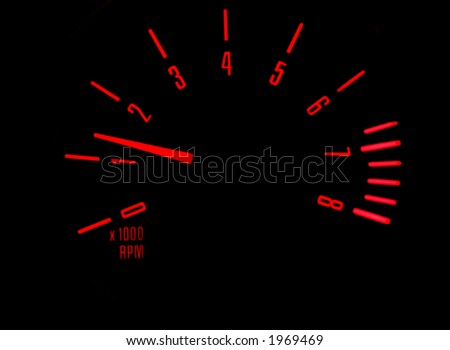 Rev counter in a car