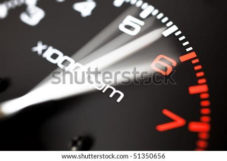 Rev counter of a car .Tachemeter close up.