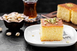 Revani - sweet semolina cake with pistachio, traditional turkish dessert