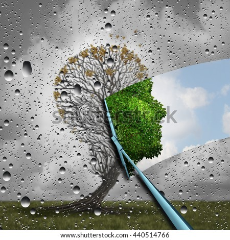 Reverse aging process and make young again medical concept or plastic surgery symbol as a wiper wiping old tree to a healthy human head as a medical icon of renewal with 3D illustration elements.