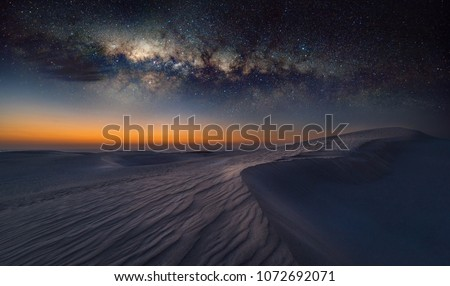 Reverse Arch Milky Way on sand dunes in Cervantes, Australia\n