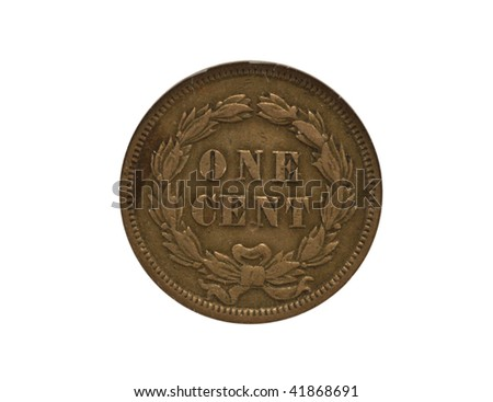 Reverse of 1859 Indian cent - stock photo