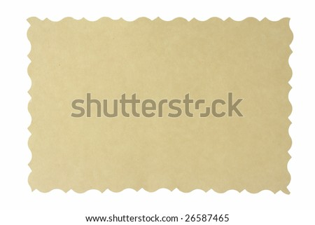 Reverse side of an old photo print with a decorative border, isolated on white background.