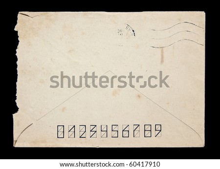 reverse side of the old envelope - stock photo