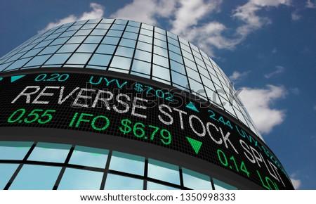 Reverse Stock Split Market Company Strategy Ticker 3d Illustration