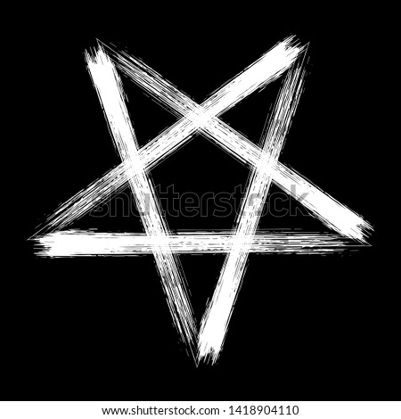 Reversed pentagram icon, brush drawing magic occult star symbol. Illustration in white isolated over black.