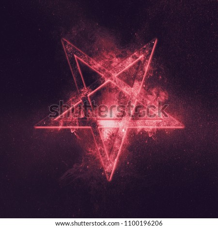 Reversed Pentagram symbol. Abstract night sky background.