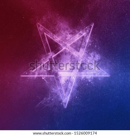 Reversed Pentagram symbol Red Blue. Abstract night sky background.