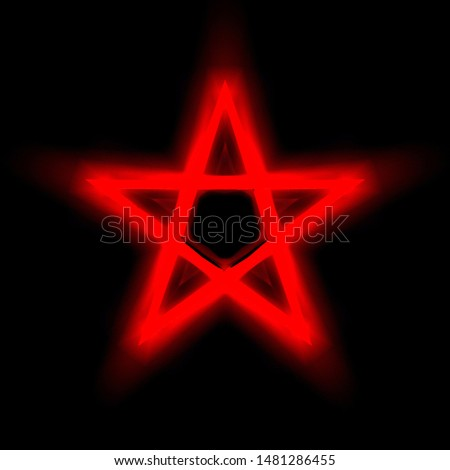 Reversed Pentagram symbol. Wiccan symbols- Cross of Sulfur.Blood red runic spell circle. Satanic sign, Magic casting ring. Pentalpha, Pentangle. 3d illustration.