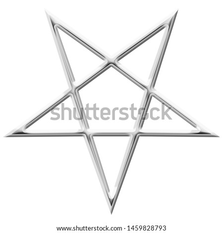 Reversed Pentagram symbol. Wiccan symbols- Cross of Sulfur. Metal runic spell circle. Satanic sign, Magic casting ring. Pentalpha, Pentangle. 3d illustration.