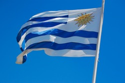 Reversed Uruguay flag flapping in the wind