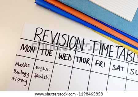 Revision or study timetable concept