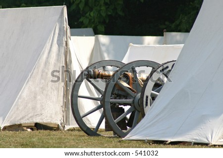 revolutionary war cannon and tents