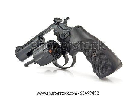 revolver isolated on white background, russian roulette