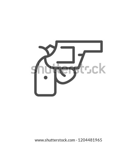 Revolver line icon isolated on white