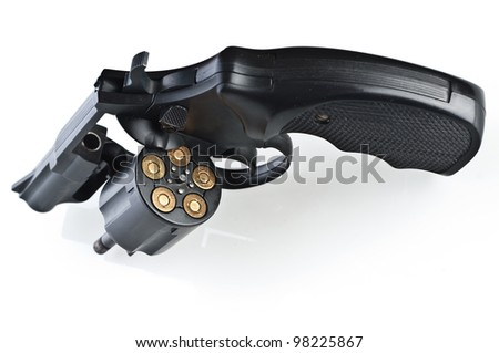 Revolver on a white background