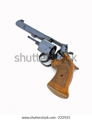 Revolver open chamber isolated white background