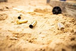 revolver round cartridge on the ground