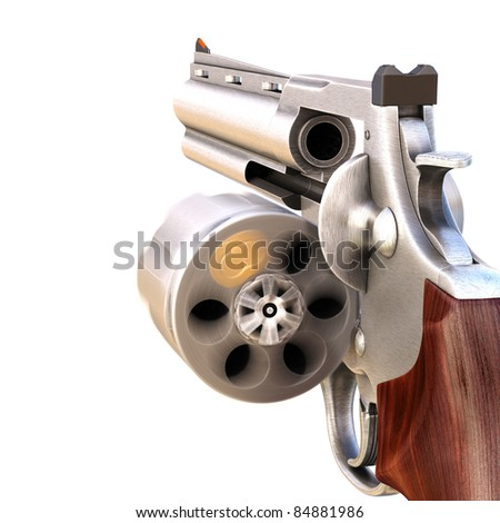 revolver with a rotating open drum. isolated on white.