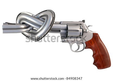 revolver with the barrel tied in a heart-shaped. isolated on white.